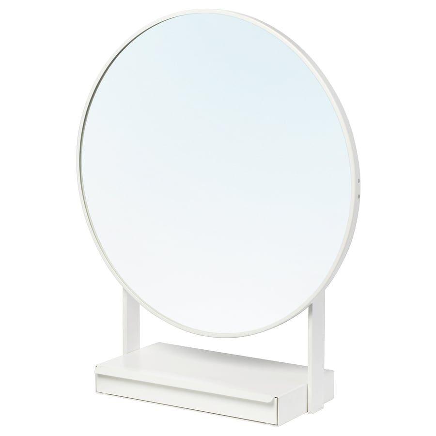 Tavolo Vetro Rotondo Ikea.Vennesla Specchio Da Tavolo Bianco Nel 2019 Specchio Da Tavolo