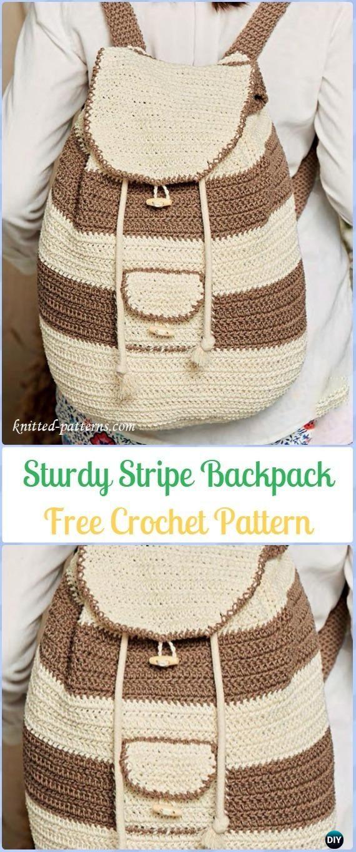 Crochet Sturdy Stripe Backpack Free Pattern - #Crochet #Backpack ...