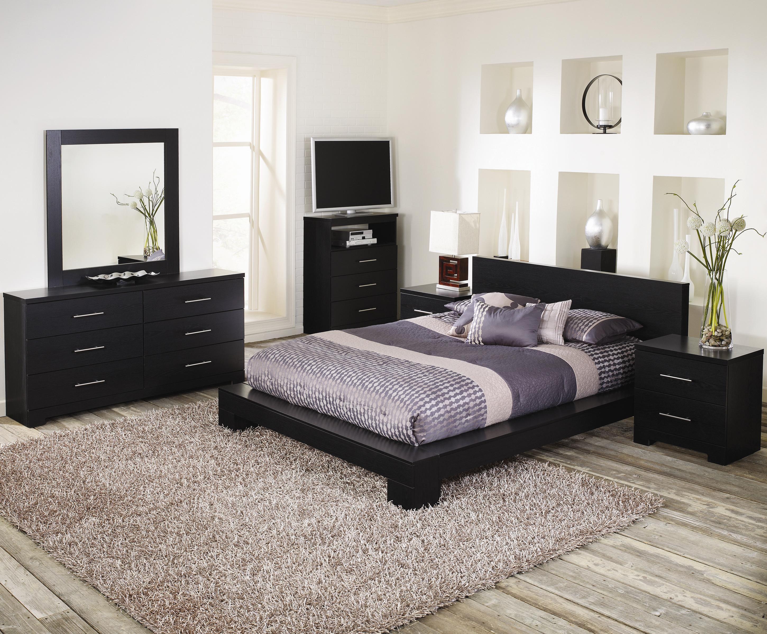 Platform Bedroom Sets Queen lang furniture - brooklyn cinder platform oak bedroom set | for