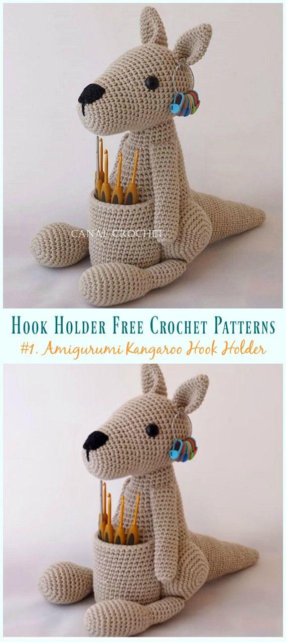Amigurumi Kangaroo Hook Holder Crochet Free Pattern #amigurumifreepattern