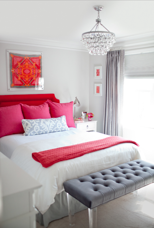 Red Hot Pink Grey White Bedroom Krista Salmon Bedroom Color Schemes Bedroom Colors Grey Bedroom With Pop Of Color