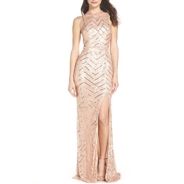 Women s Mac Duggal Sequin Strappy Gown ( 478) ❤ liked on Polyvore featuring  dresses 1475609120
