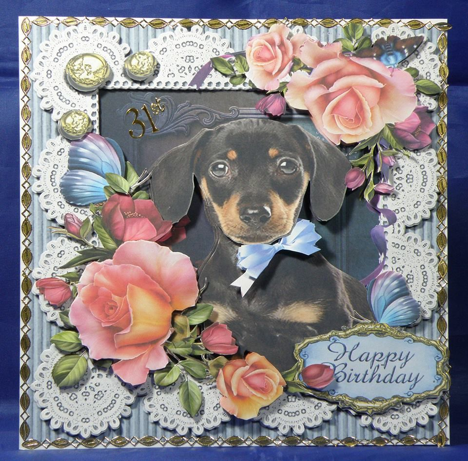 Cute Dachshund Pup and Lace Card. 8 x 8 decoupaged card. Available from www.therhodaharveycollection.co.uk