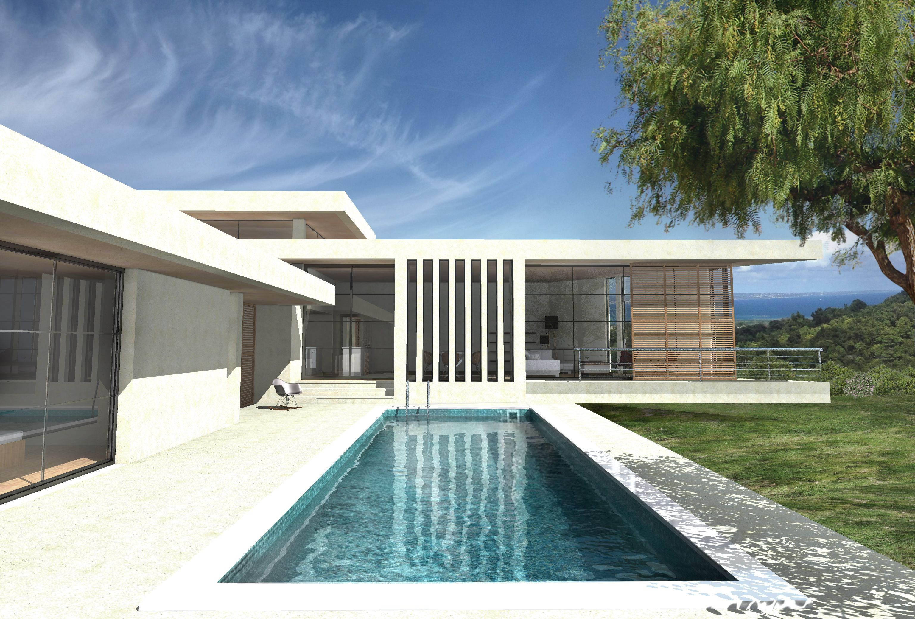 Maison de r ve contemporaine de plain pied r alis e par for Plan d architecture villa moderne