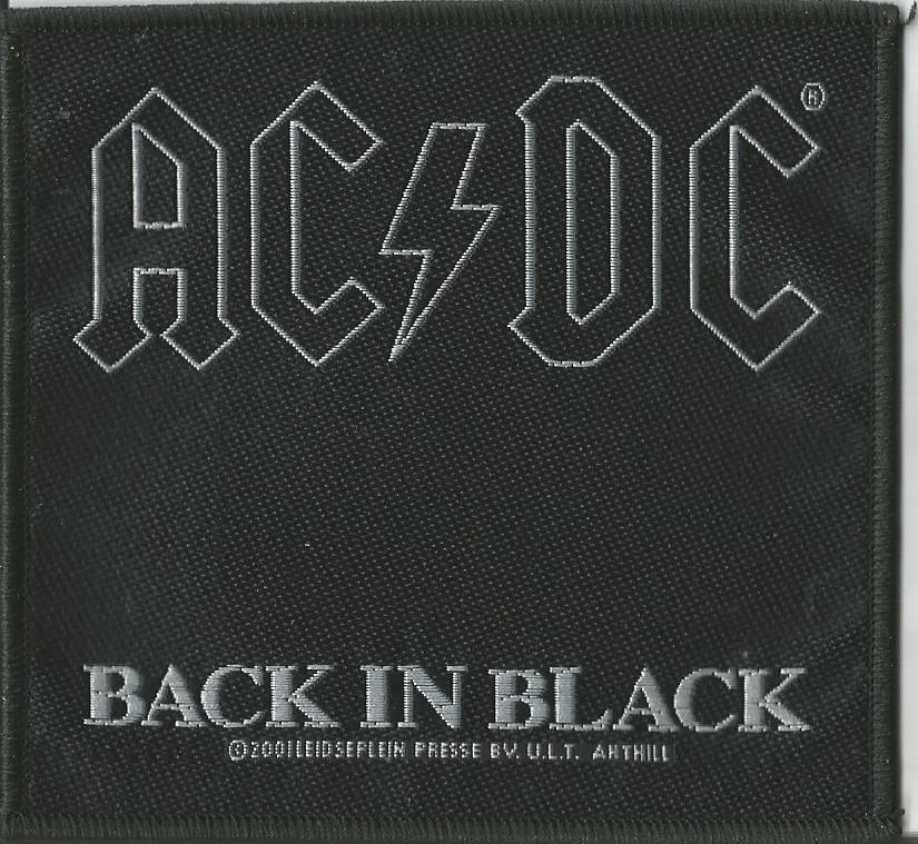 Ac dc back in black woven patch sew on official band merchandise
