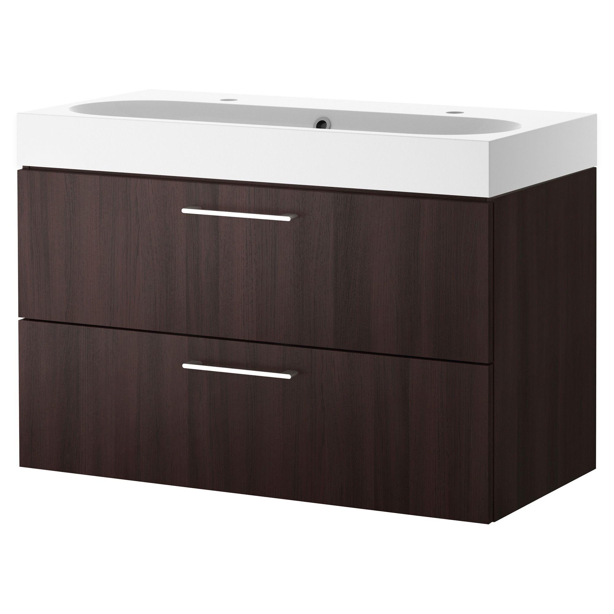 GODMORGON/BRÅVIKEN Meuble lavabo 2tir - brun noir - IKEA h68xl100xd49cm 349euros