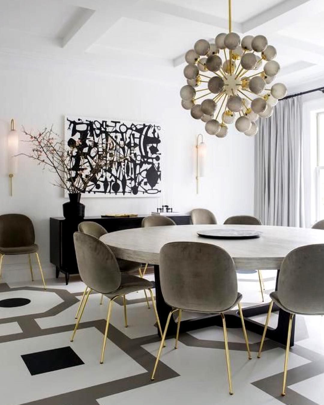 Little Black Book Of Interiors On Instagram Tonight Our Dining Tables Won T Be The Same Without All In 2020 Black Dining Room Gold Dining Room Round Dining Room Sets