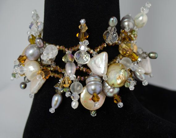 Bracelet Pearls Crystals in White Silver and by LindyLeeTreasures #Christmas #Gifts #Pearls