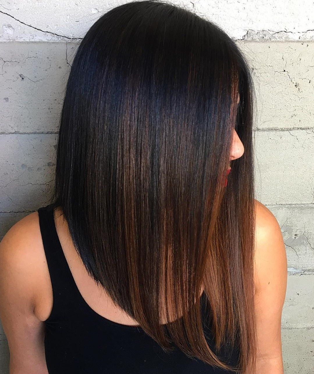 Extra Long Straight Black Brown Bob Long Bob Haircuts Lob Haircut Long Bob Hairstyles