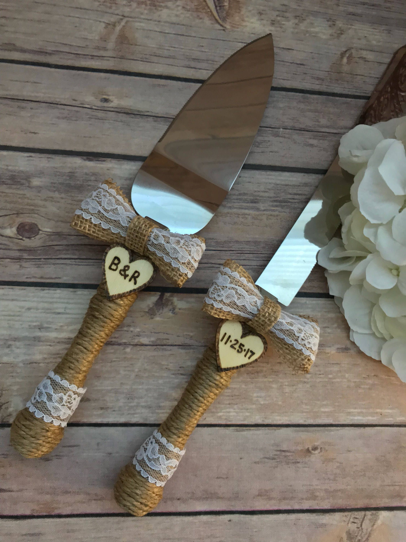 Personalized Wedding Cake Server Knife Set Rustic Cake Knife Set