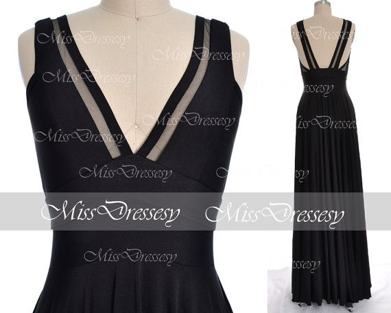 Black Jersey Evening Gown, A-line V-neck Floor-length Jersey Evening Dress, Black Prom Dresses , Wedding Party Dresses, Formal Gown on Etsy, $129.00