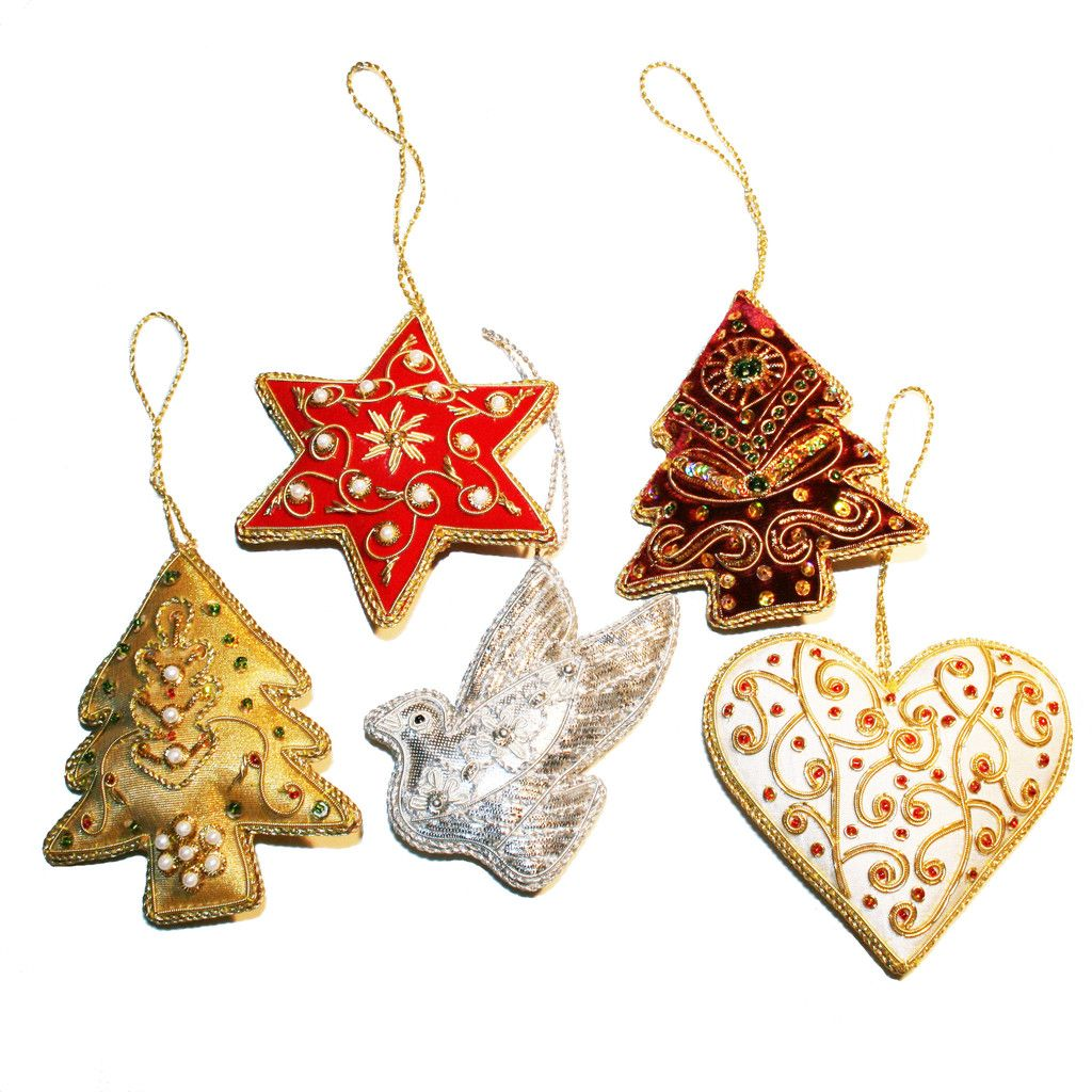 Indian Hand-embroidered Christmas Ornaments-pack Of 5