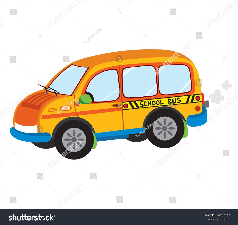 Illustration Of School Kids Riding Yellow School Bus