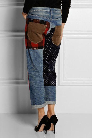 Junya Watanabe | Patchwork cropped boyfriend-fit jeans | NET-A-PORTER.COM