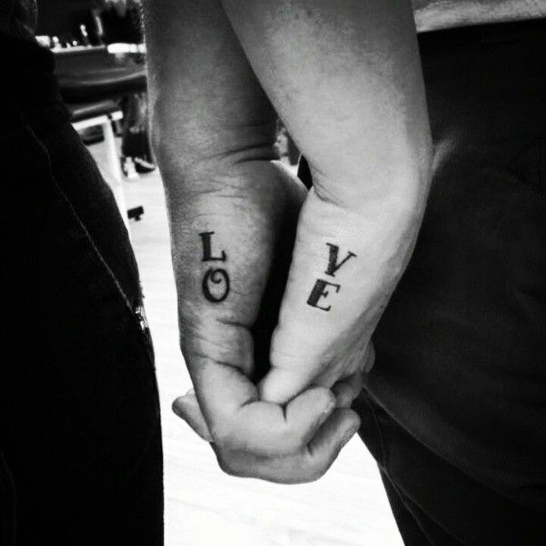 Love Lettering Couple Tattoo Design On Hand Cool Tattoo Designs Best Couple Tattoos Couple Tattoos Unique Couples Tattoo Designs