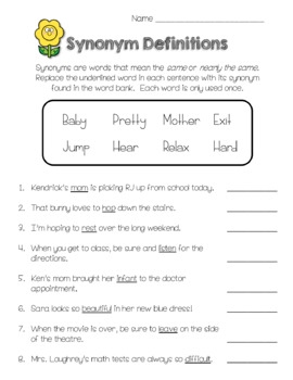 Synonym Worksheet Freebie