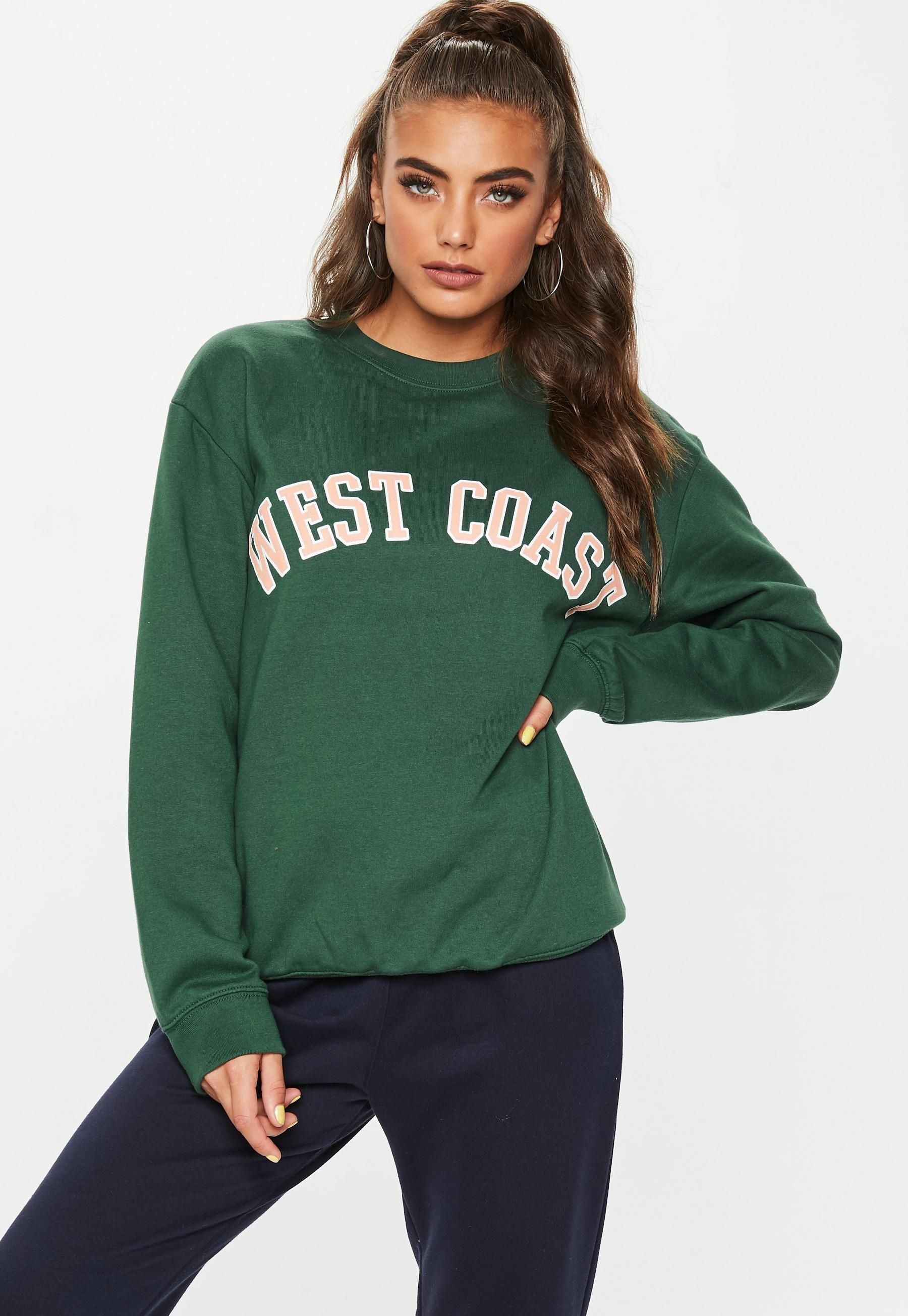 aliexpress wholesale outlet online shop Green West Coast Slogan Sweatshirt | Fashion, Sweatshirts, Tops