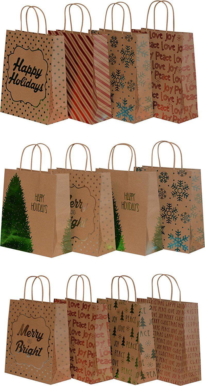 Kraft Holiday Gift Bags Foil Hot Stamp Designs 18 Medium