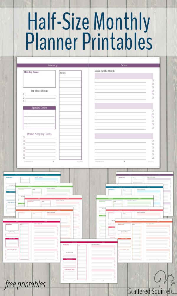 HalfSize Monthly Planner Printables  Planners Organizations And