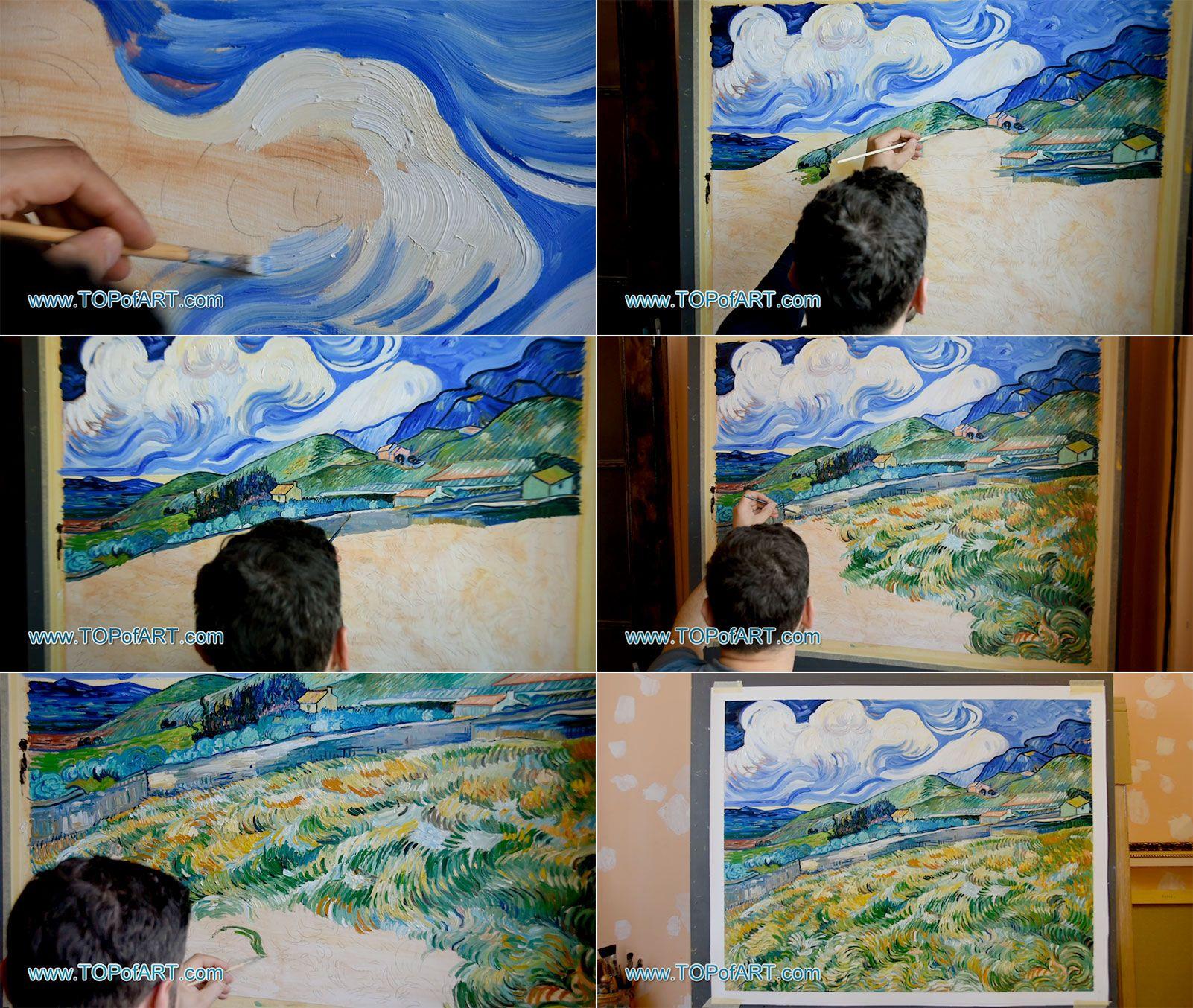 Mountain landscape behind the Hospital Saint-Paul Vincent Van Gogh Repro Canvas
