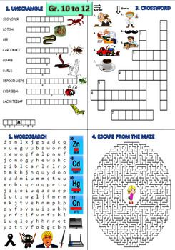 Bundle Of 4 Fun English Puzzles Worksheets To Cover All Grades