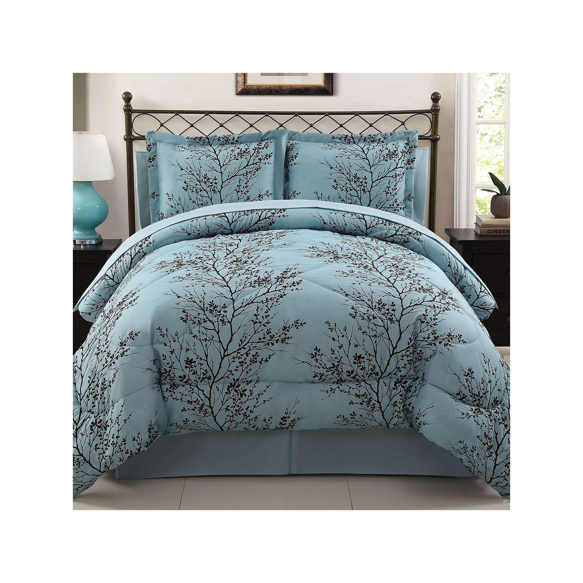 reversible ding green elliot and ruched plaid comforters purple complete piece gardens latitude yakunina ombre blue homes bed info comforter set
