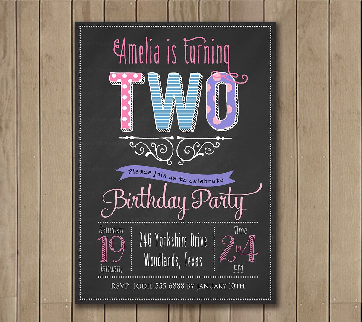 Chalkboard 2nd Birthday Invitation.  Little Girl Birthday Invitation. Printable. DIY. Purple and Pink. 1002a by TracyAnnPrintables on Etsy https://www.etsy.com/listing/194922883/chalkboard-2nd-birthday-invitation