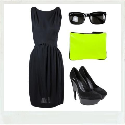 Laure Heriard Dubreuil's neon touch to brighten up a total black look ! http://www.walkinmycloset.com/closet/laure.heriard.dubreuil