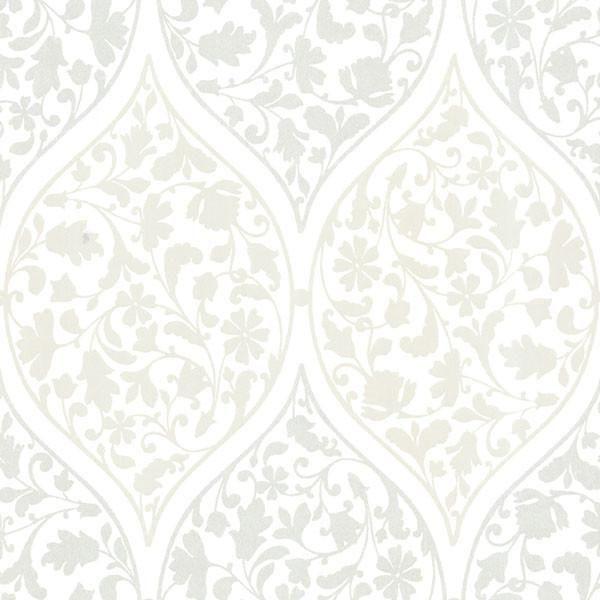 Adelaide Silver Ogee Floral Wallpaper Embossed Wallpaper Floral Wallpaper Transitional Wallpaper