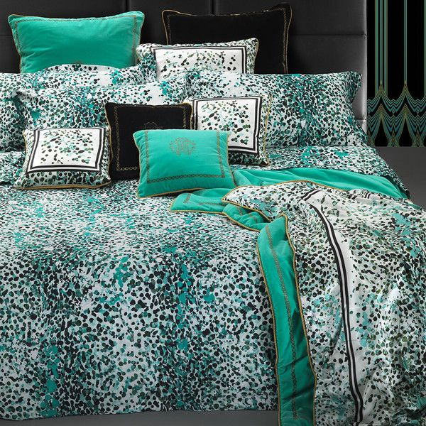 Roberto Cavalli Scamuskin Duvet Set Super King Teal 685 Liked On Polyvore Featuring Home Bed Bath Bed Linens Luxury Luxury Bedding Bed Linen Design