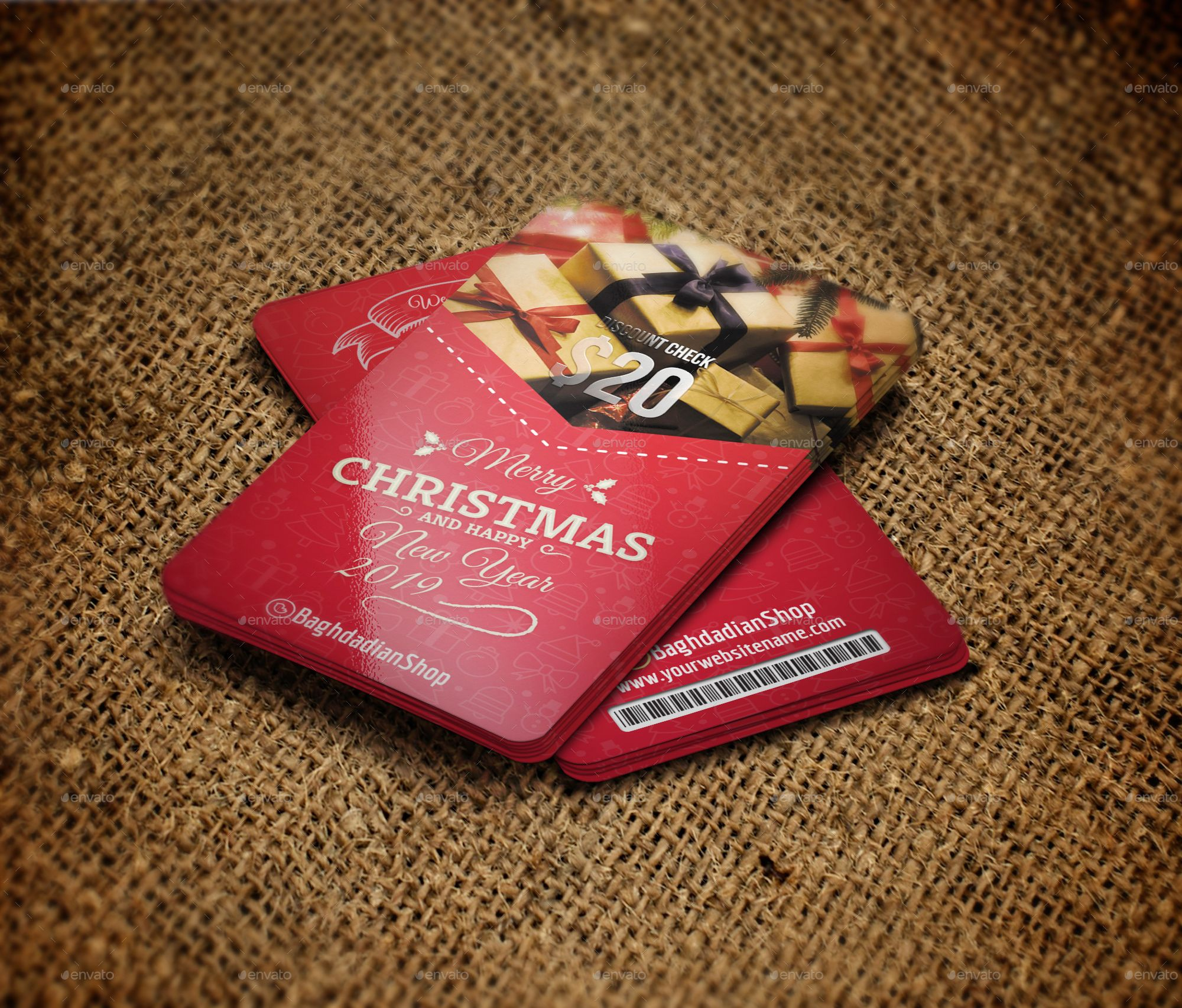 Christmas and new year gift voucher card template new