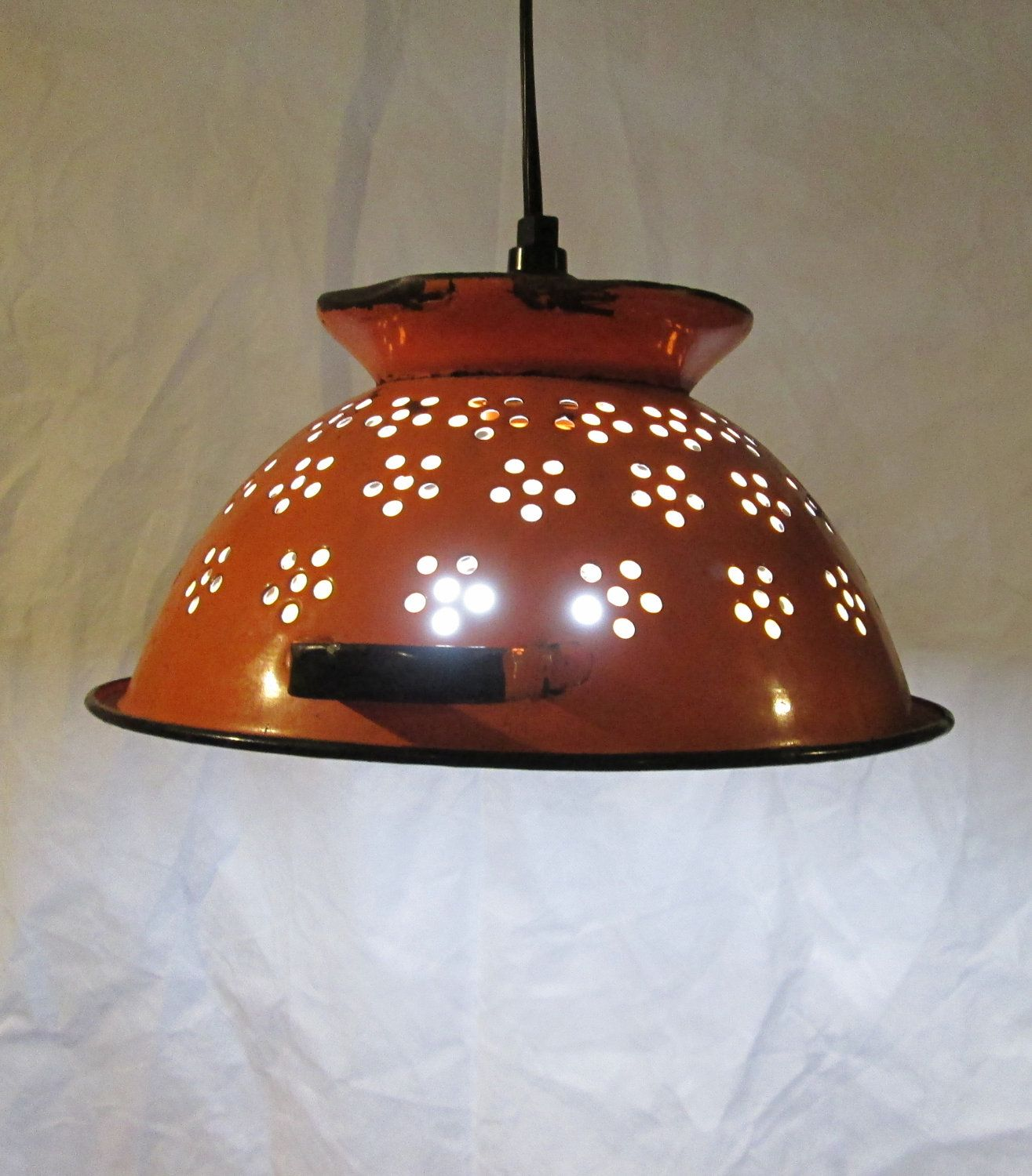 Vintage colandar, upcycled pendant light, repurposed hanging ...