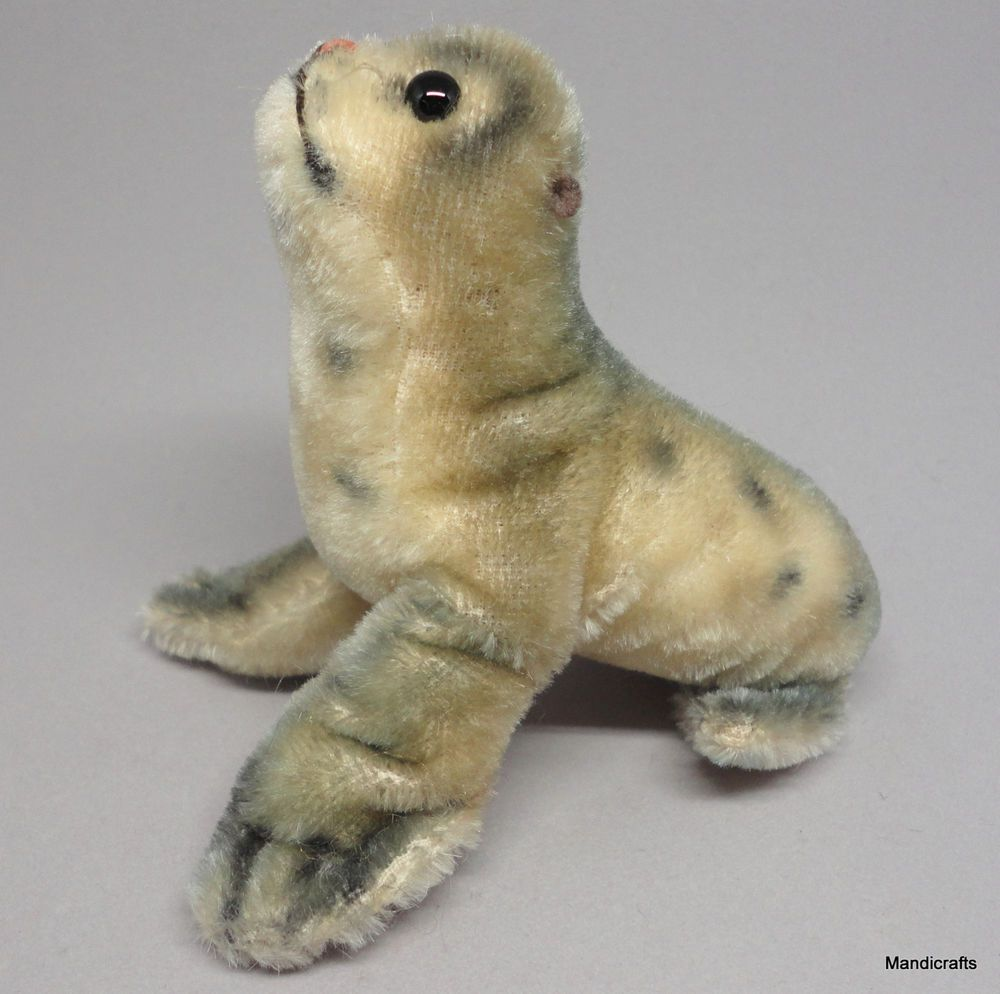 Steiff Robby Seal Speckled Mohair Plush 10cm 4in 1960s Vintage Glass Eyes No Id Steiff Alloccasion Steiff Collectable Plush 1960s Vintage