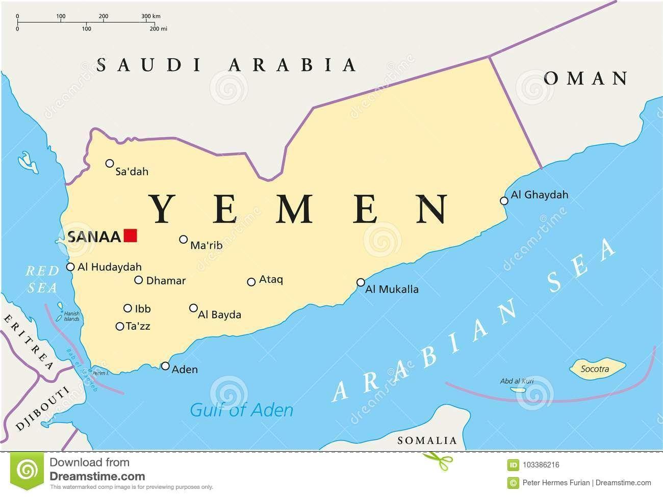 Der Jemen Politische Karte Vektor Abbildung Illustration Yemen Jemen Map Sanaa Karte Politische Capital Political War Debat In 2020 Yemen Socotra South African