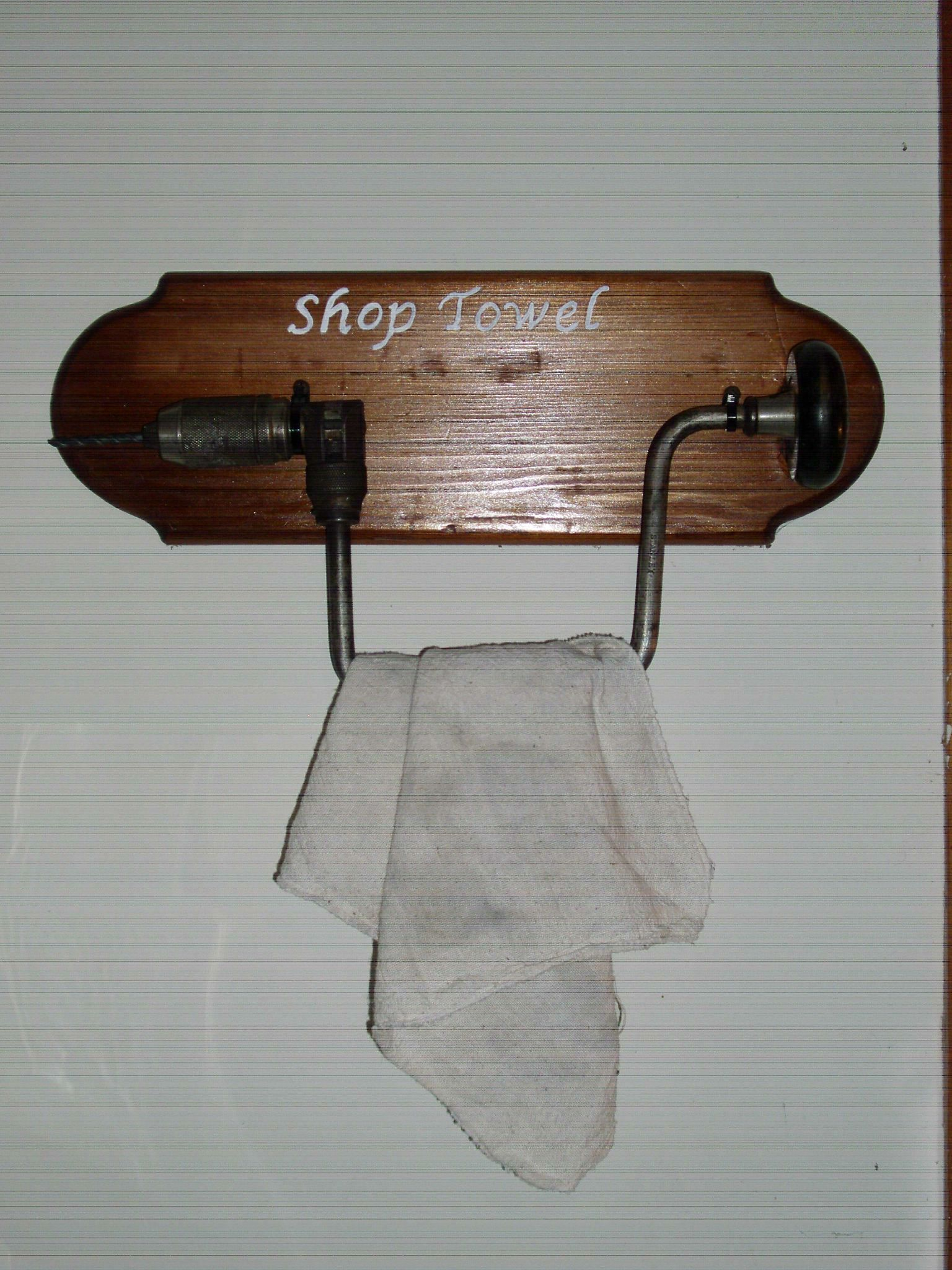 Farmhouse Hand Towel Holder Shop Towel Holder Made From An Antique Hand Drill My