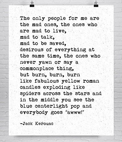 Jack Kerouac On the Road Fine Art Literary Quote Print Book Lovers Gift >>> Be sure to check out this awesome product.Note:It is affiliate link to Amazon.