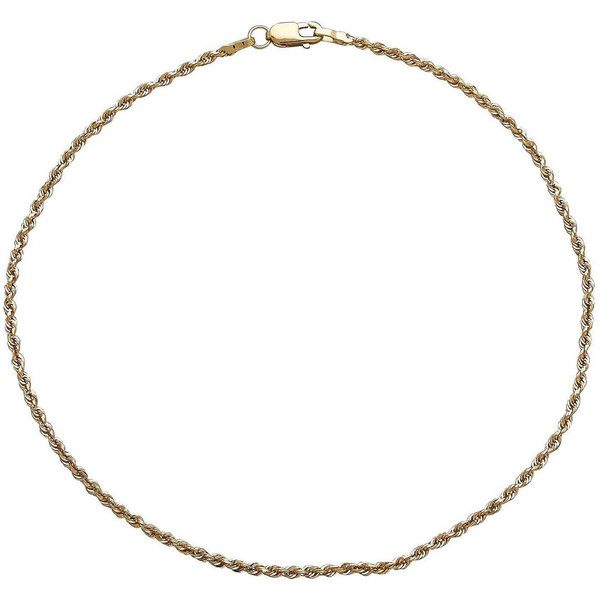 Fine Jewelry Infinite Gold 14K Yellow Gold Glitter Solid Rope Anklet Bracelet PGzpl8