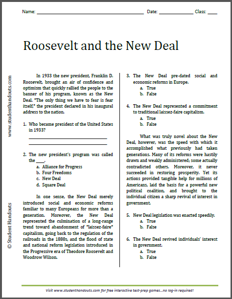 Worksheets Free History Worksheets list of american history readings worksheets for high school roosevelt and the new deal reading worksheet free to print pdf file