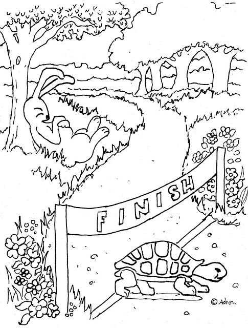 Coloring Pages for Kids by Mr. Adron: Tortoise And The Hare Print ...