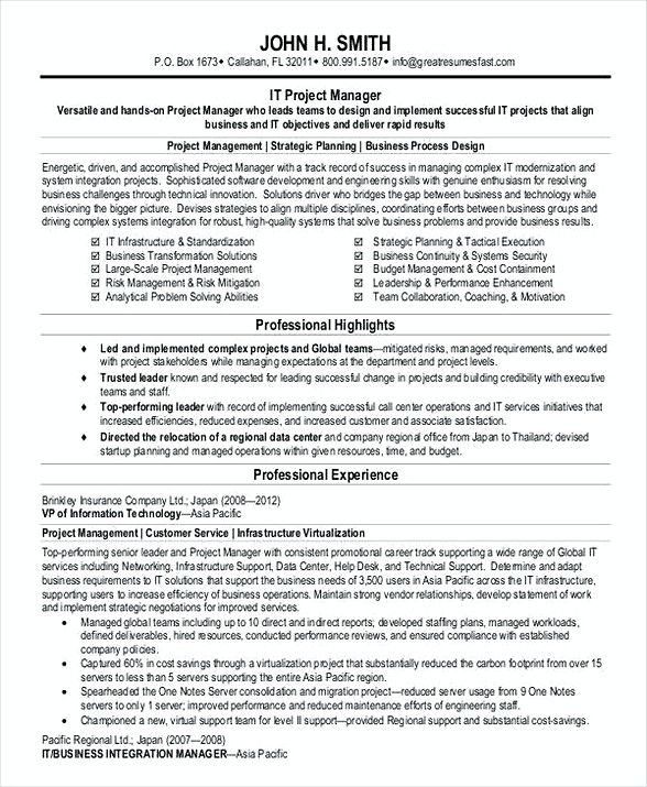 Project Manager Resume Pdf  Bank Branch Manager Resume  This