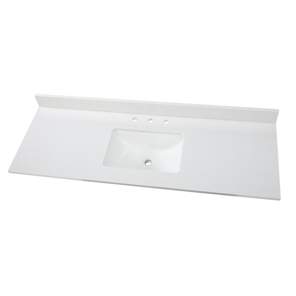 Home Decorators Collection 61 In W X 22 In D Engineered Marble Vanity Top In Snowstorm With White Single Trough Sink Marble Vanity Tops Trough Sink Vanity