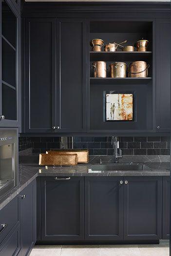 Black Kitchen With Copper Accessories | Knowles Design Studio