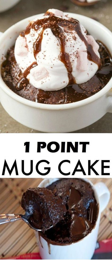 One Point Mug Cake Ww Recipes Weight Watcher Recipes