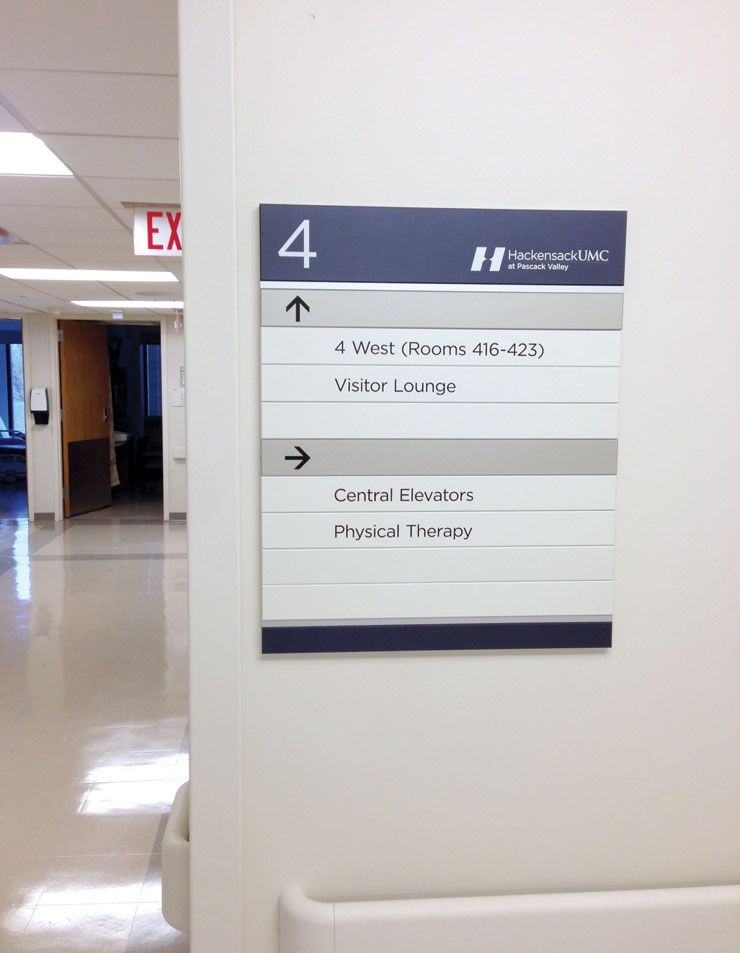 Humc Pascack Valley Hospital Wayfinding Sign System By Ags Ags Sign System Wayfinding Wayfinding Signs