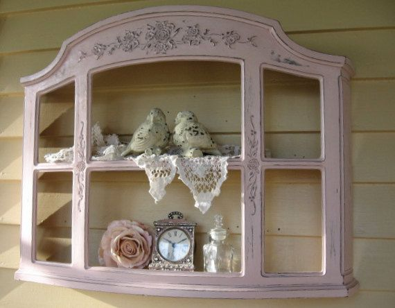 Shabby Chic Pink Wall Curio Cabinet Hanging Display Shelf Vintage Syroco Ornate Floral Hanging Wall Shelf Cottage Hollywood Regency Wall Curio Cabinet Curio Cabinet Shabby Chic Pink