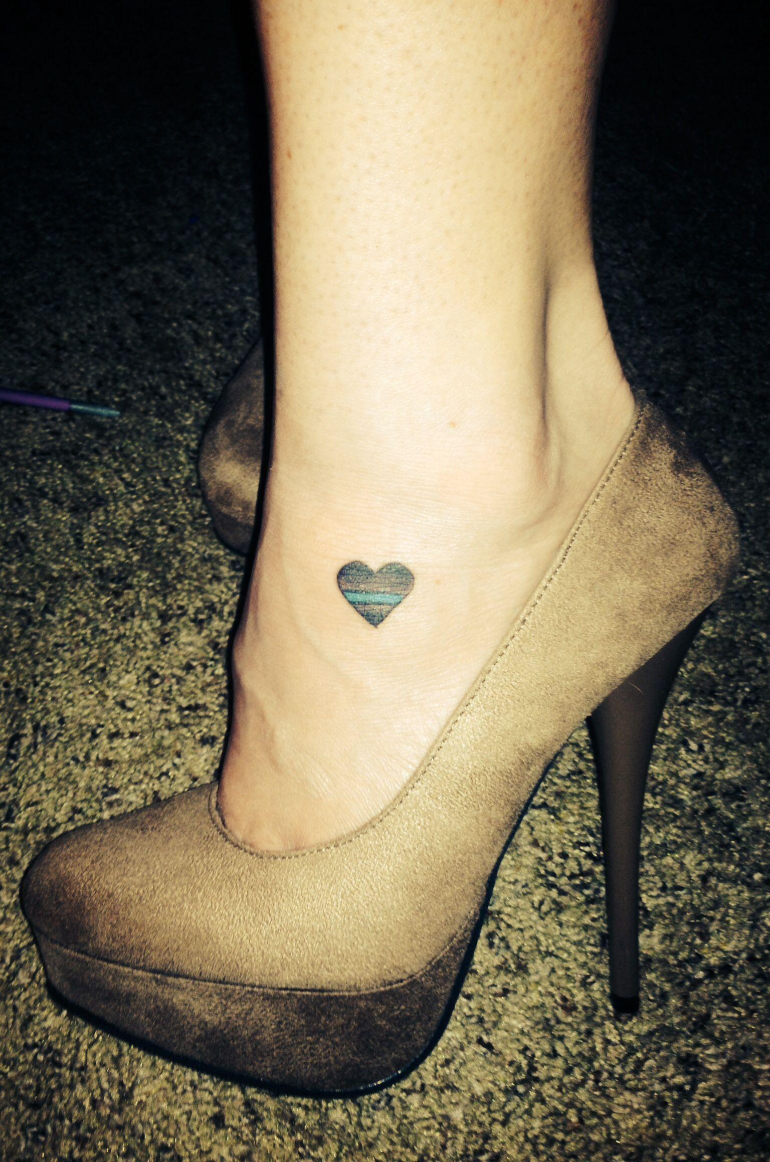 Heart Thin Blue Line Tattoo