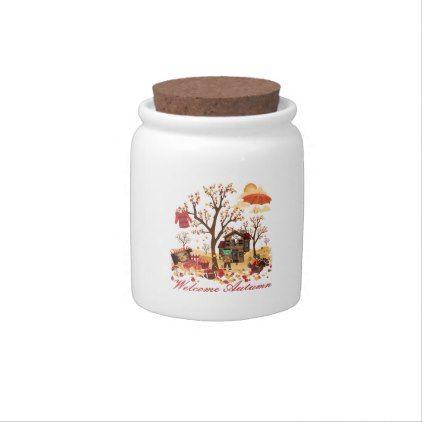 Welcome Autumn Fall Scenery Candy Jar | Zazzle.com #fallscenery