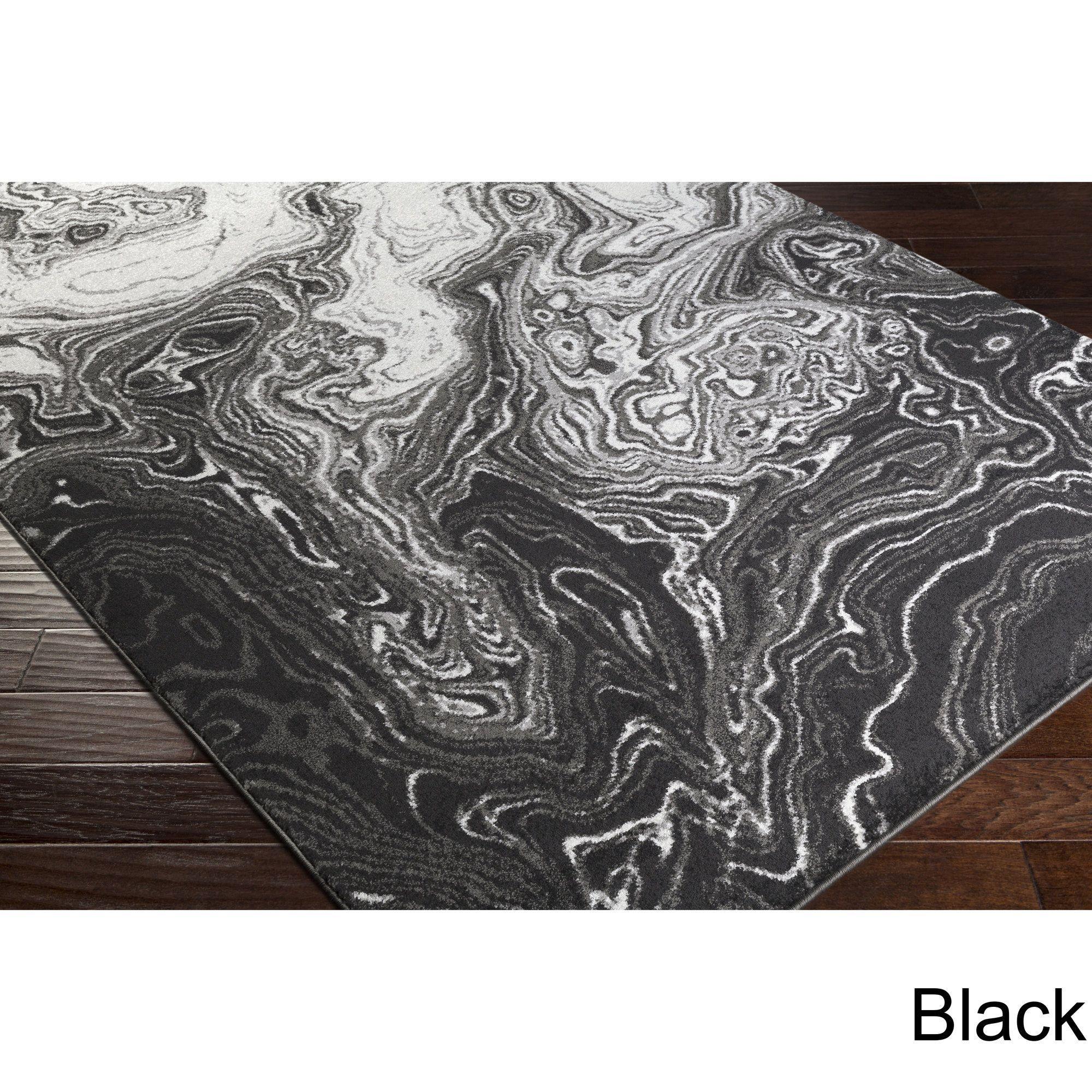 Madeline Mystic Black & Grey Rug 5 3 x 7 6 Black Size 5 x 8 Polypropylene Abstract
