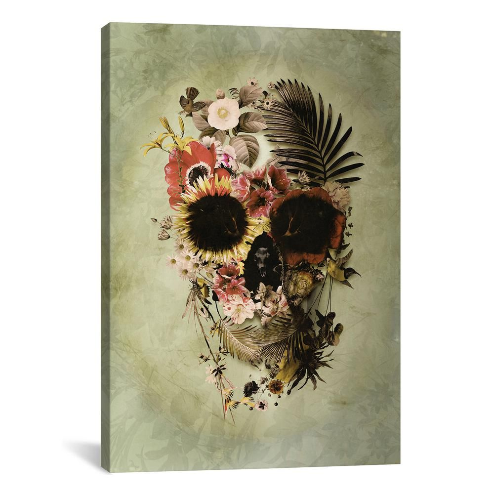 "iCanvas ""Garden Skull Light"" by Ali Gulec Canvas Wall Art AGC10-1PC3-26x18 - The Home Depot"