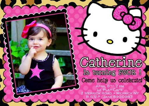 HELLO KITTY CHEETAH BIRTHDAY INVITATION Party Ideas Pinterest